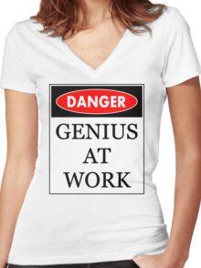 Danger - Genius at work Women's Fitted V-Neck T-Shirt