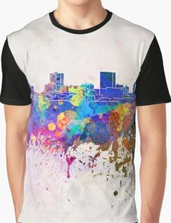 Anchorage skyline in watercolor background Graphic T-Shirt