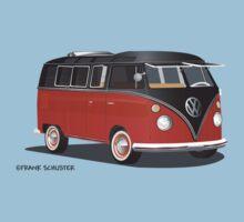 21 Window VW Bus Red/Black Kids Tee