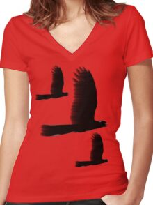 Black Cockatoos Women's Fitted V-Neck T-Shirt