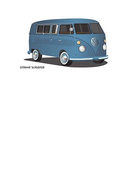 21 Window VW Bus Transporter Blue by Frank Schuster