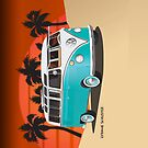 21 Window VW Bus Teal in Desert by Frank Schuster