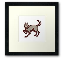 Gray Wolf Side View Retro Framed Print
