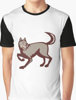 Gray Wolf Side View Retro Graphic T-Shirt