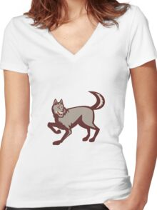 Gray Wolf Side View Retro Women's Fitted V-Neck T-Shirt