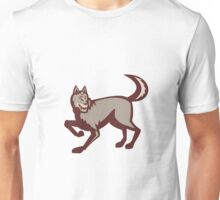 Gray Wolf Side View Retro Unisex T-Shirt