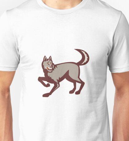Gray Wolf Side View Retro Unisex T-Shirt