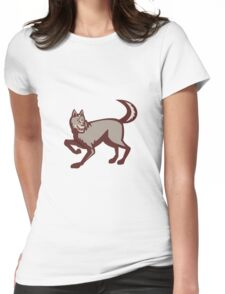 Gray Wolf Side View Retro Womens Fitted T-Shirt