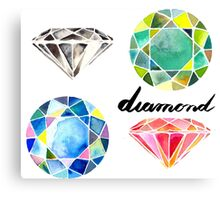 Watercolor Diamonds with Calligraphy – April Birthstone Canvas Print