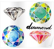 Watercolor Diamonds with Calligraphy – April Birthstone Poster