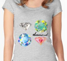 Watercolor Diamonds with Calligraphy – April Birthstone Women's Fitted Scoop T-Shirt