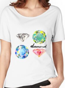 Watercolor Diamonds with Calligraphy – April Birthstone Women's Relaxed Fit T-Shirt