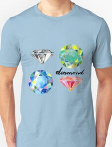 Watercolor Diamonds with Calligraphy – April Birthstone T-Shirt