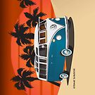 21 Window VW Bus Tuerkis in Desert by Frank Schuster