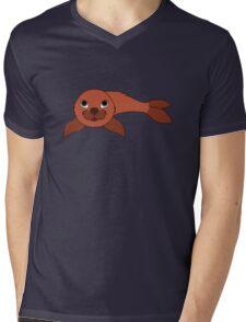 Red Baby Seal Mens V-Neck T-Shirt