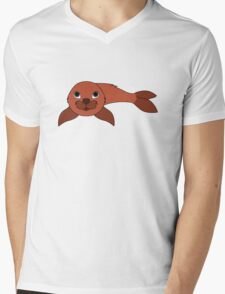 Red Baby Seal Mens V-Neck T-Shirt