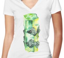 Watercolor Emerald – May Birthstone Women's Fitted V-Neck T-Shirt
