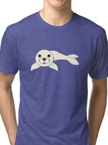 White Baby Seal Tri-blend T-Shirt