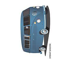 VW Bus Blue Transporter Blue by Frank Schuster
