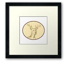 Red Stag Deer Head Circle Etching Framed Print
