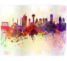 Ankara skyline in watercolor background Poster