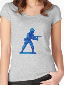 blue toy soldier Women's Fitted Scoop T-Shirt