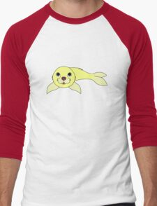 Light Yellow Baby Seal Men's Baseball ¾ T-Shirt