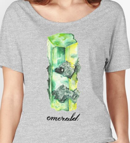 Watercolor Emerald With Calligraphy – May Birthstone Women's Relaxed Fit T-Shirt