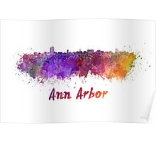 Ann Arbor skyline in watercolor Poster