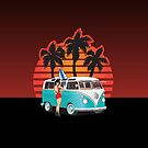 21 Window VW Bus With Palmes and girl by Frank Schuster