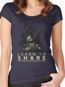 Learn To Share - The Pirate Bay Women's Fitted Scoop T-Shirt