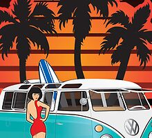 21 Window VW Bus With Palmes and Girl Large by Frank Schuster