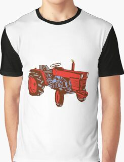 Vintage Farm Tractor Side Woodcut Graphic T-Shirt