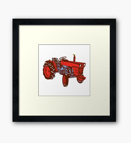 Vintage Farm Tractor Side Woodcut Framed Print