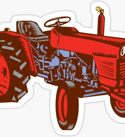 Vintage Farm Tractor Side Woodcut Sticker