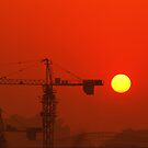 construction site setting sun by davvi