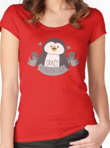 Crazy penguin Lady Banner Women's Fitted Scoop T-Shirt