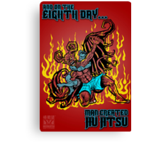 On The Eighth Day Man Created Jiu Jitsu Canvas Print
