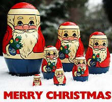 Christmas Card Santas in the Snow by David Alexander Elder