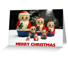 Christmas Card Santas in the Snow Greeting Card