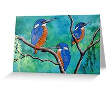 Above The Water Line ( Azure Kingfishers ) Greeting Card
