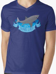 Crazy Shark Lady Banner Mens V-Neck T-Shirt