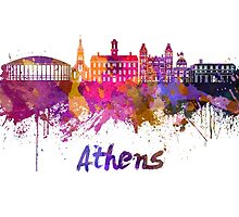 Athens OH skyline in watercolor by paulrommer