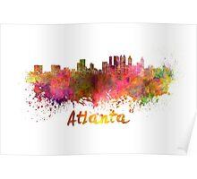 Atlanta skyline in watercolor Poster