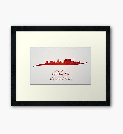 Atlanta skyline in red Framed Print