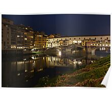 Florence, Italy Night Magic - A Glamorous Evening at Ponte Vecchio  Poster