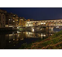 Florence, Italy Night Magic - A Glamorous Evening at Ponte Vecchio  Photographic Print