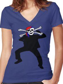 ★ټ Pirate Skull Style Hilarious Clothing & Stickersټ★ Women's Fitted V-Neck T-Shirt