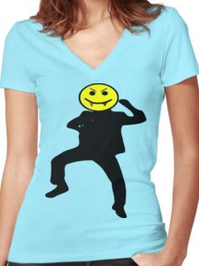 ★ټVampire Smiley Style Hilarious Clothing & Stickersټ★ Women's Fitted V-Neck T-Shirt