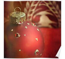 Red and gold Christmas bauble Poster